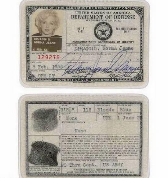 Паспорт Мэрилин Монро