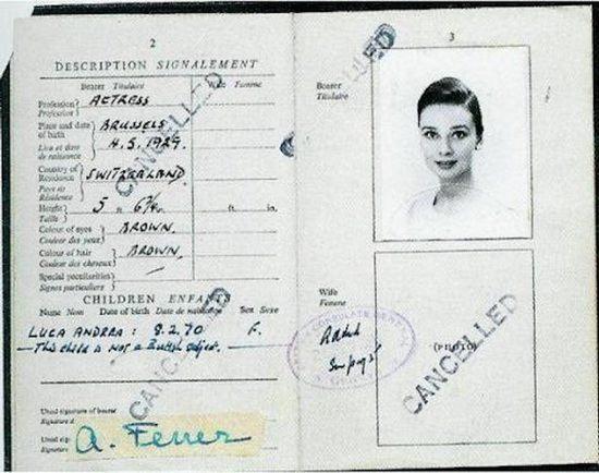 Паспорт Одри Хепберн