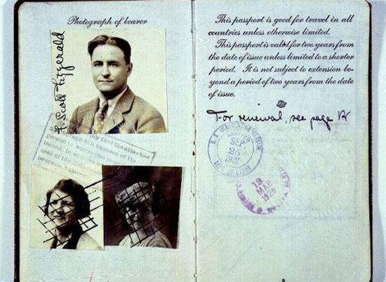 Паспорт Френсиса Скотта Фицджеральда