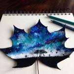 Рисунки на опавших листьях