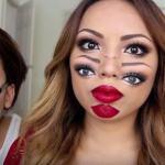 Психоделичный двуликий макияж на Хэллоуин (видео)