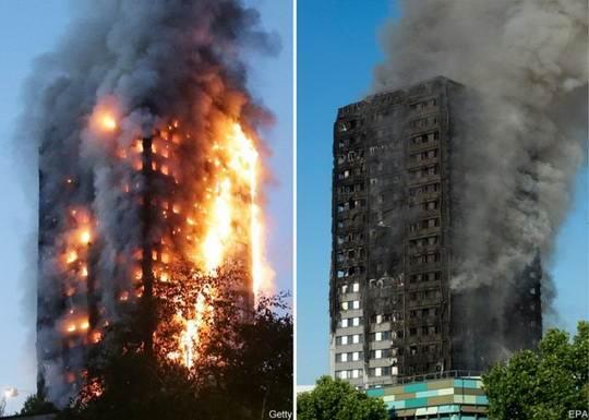 24-этажная башня Grenfell Tower этой ночью буквально вспыхнула. Огонь был такой силы, что приехавшие по вызову пожарные расчеты до верхних этажей здания добраться не смогли.