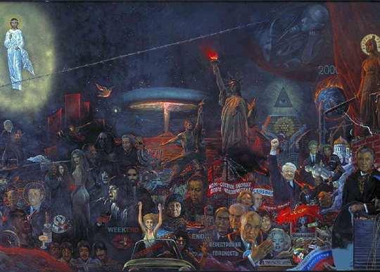 Написанная в 1977 году Ильёй Глазуновым картина «Мистерия XX века» должна была стать главным экспонатом, готовящейся выставки в зале Союза художников на Кузнецком мосту в Москве.