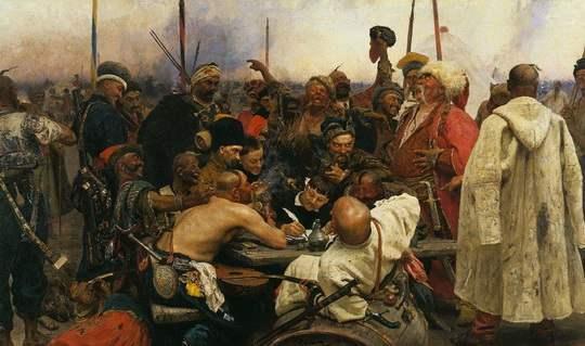 На картине Репина «Запорожцы» только один казак за столом голый выше пояса