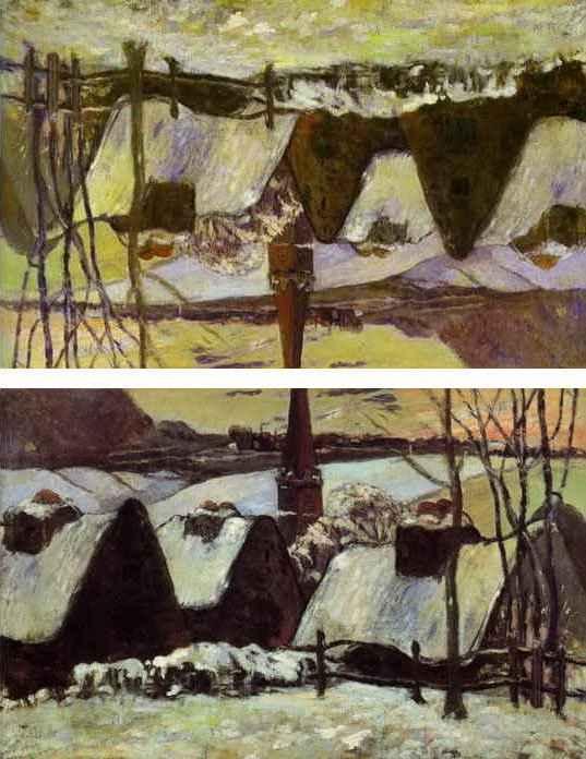 Картина Поля Гогена «Бретонская деревня в снегу» была продана на аукционе после его смерти.