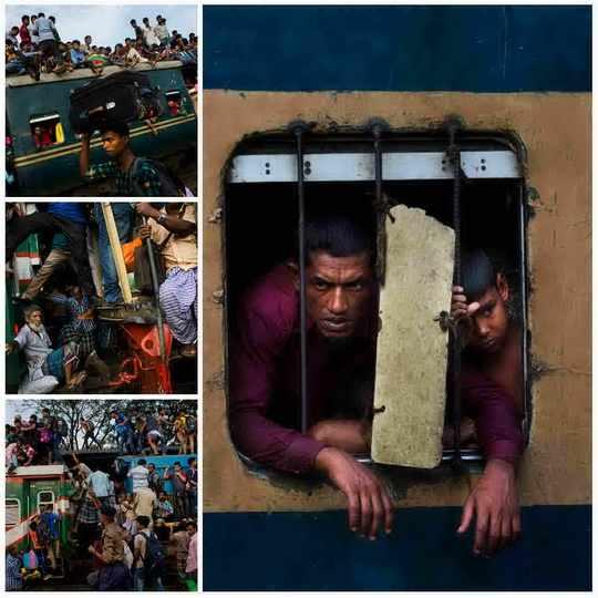 Праздничные дни в Бангладеше дарят нам крайне необычные виды, как тут ездят на поездах.