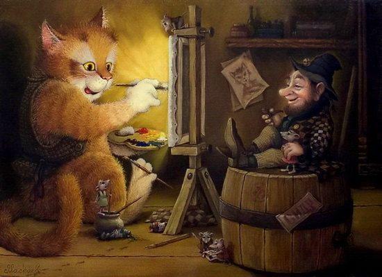 смешная серия историй о приключениях домового и его верного спутника — кота