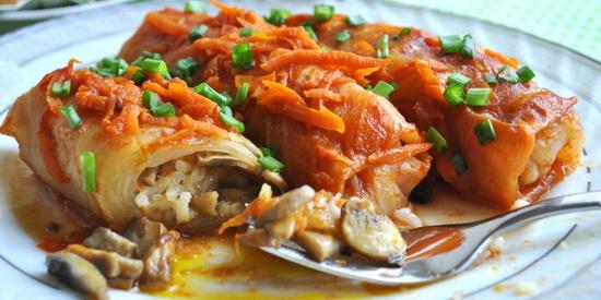 Пищевая ценность вегетарианских голубцов составляет 190 килокалорий на 100 грамм