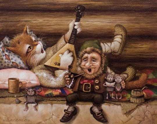 Это потрясающе милая и смешная серия историй о приключениях домового и его верного спутника — кота. часть 16