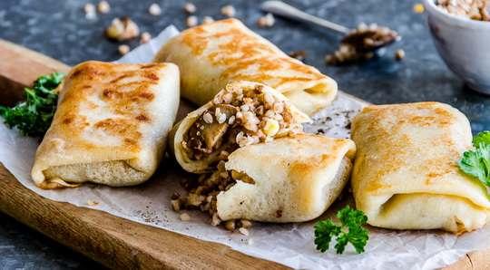 постный рецепт блинчиков с гречкой.