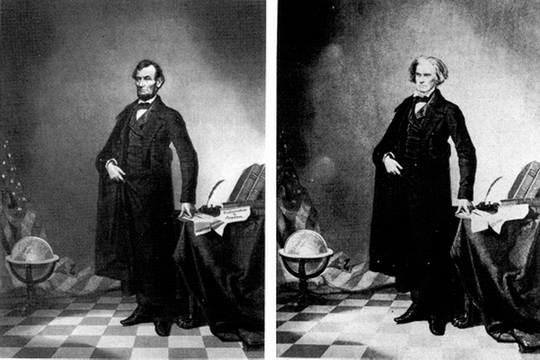 Известный портрет Линкольна в полный рост — фотомонтаж.