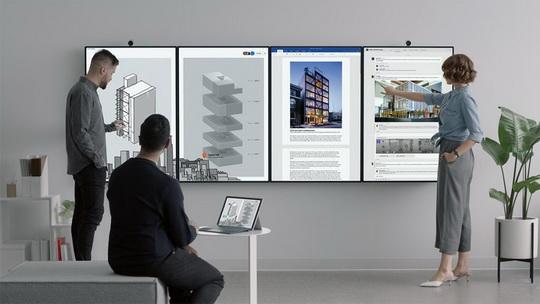 """Гигантский планшет, цифровой вайтборд, """"кирпич"""" для построения видеостен: все это про новое устройство Microsoft, Surface Hub 2."""
