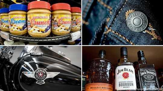 Общий объем пошлин составляет 2,8 миллиарда евро. Они затрагивают ряд товаров из США, в том числе изделия из стали, виски, арахисовое масло, мотоциклы Harley Davidson и джинсы Levi's.