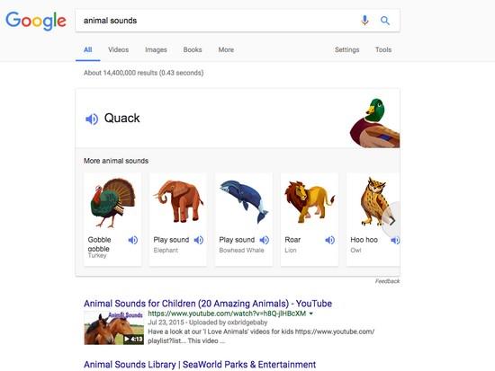 В Google - есть каталог голосов животных, которые вы можете легко найти и прослушать, набрав в поисковой строке фразу «звуки животных».