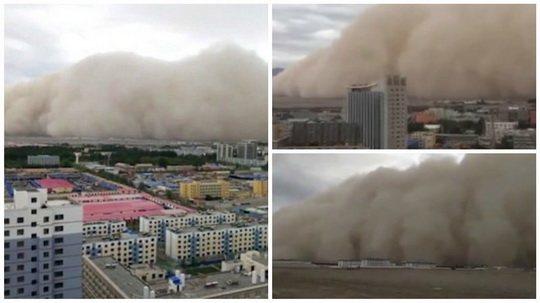 Жители города Голмуд в китайской провинции Цинхай стали свидетелями пугающего, но грандиозного зрелища - гигантской песчаной бури.