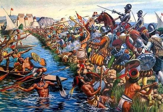 Сражение конкистадоров и ацтеков в Теночтитлане. Источник: scoopnest.com