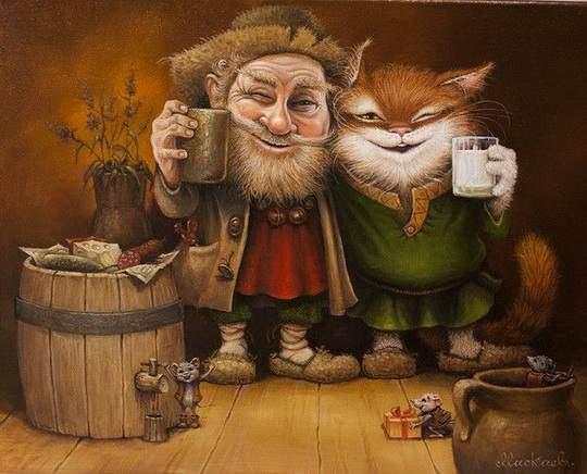 Это потрясающе милая и смешная серия историй о приключениях домового и его верного спутника — кота. Часть 24