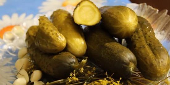Солёные огурцы с сухой горчицей