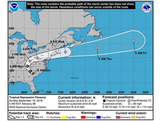 """При этом синоптики подчеркнули, что """"ослабление не снижает риск продолжения сильных ливней и наводнений в штатах Северная Каролина и Южная Каролина""""."""