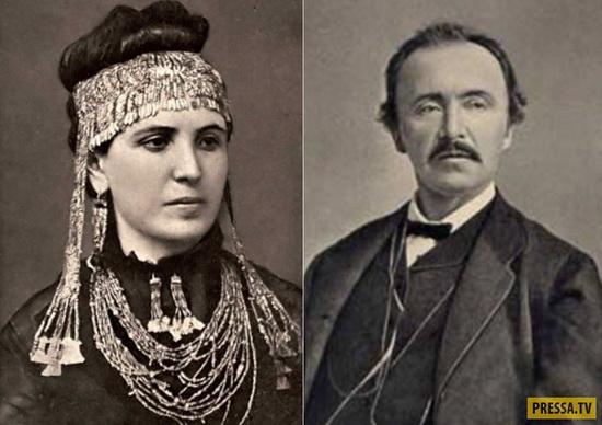 София Шлиман с украшениями из *клада Приама* и ее знаменитый муж-археолог