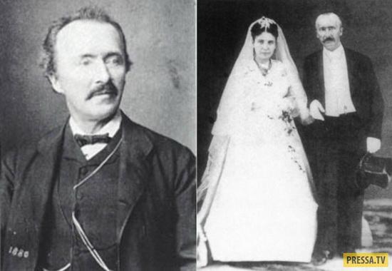 Слева – Генрих Шлиман. Справа – свадьба Софии Энгастроменос и Генриха Шлимана