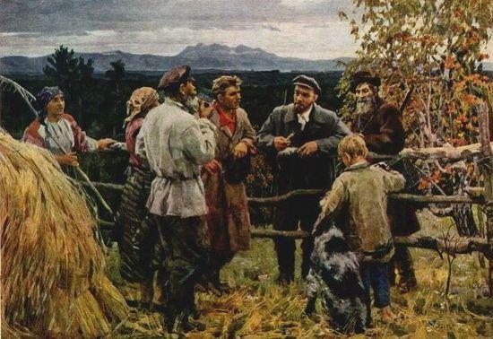 В. Басов. «В.И. Ленин среди крестьян села Шушенское»