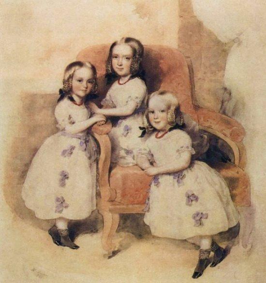 Дочери Дантеса: Слева направо: Леони, Матильда, Берта. Акварель Леопольда Фишера. 1843