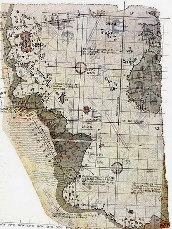 В 1929 году в библиотеке Императорского дворца в Стамбуле обнаружили карту, вычерченную на куске пергамента турецким адмиралом Пири Рейсом.