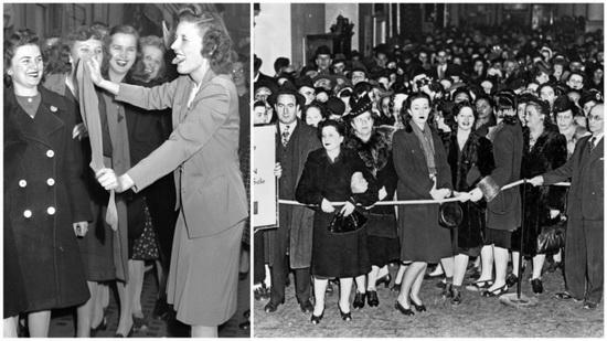 С поступлением в продажу нейлоновых чулок торговые центры нуждались в усиленной защите от женщин…