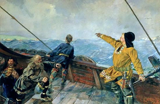 Лейф Эрикссон открывает Америку. Кристиан Крог, 1893