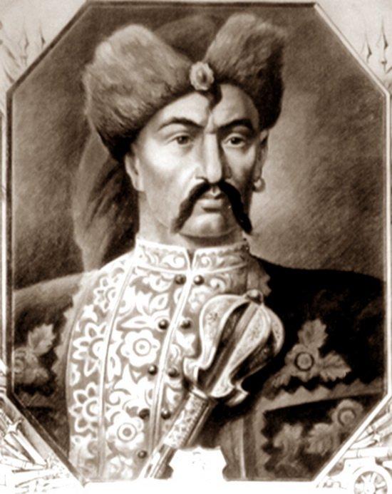 Запорожский казачий полковник Иван Богун (1618 — 1664) с полковничьим шестопером за поясом.