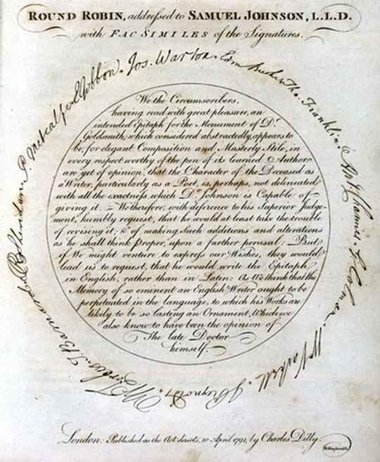 В английском языке существует специальный термин «round-robin» для петиций