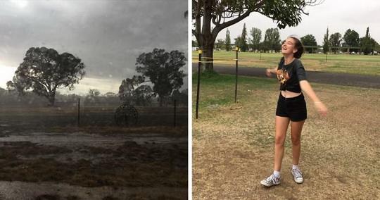 Долгожданный момент в Австралии - сильные дожди, грозы и внезапные наводнения.