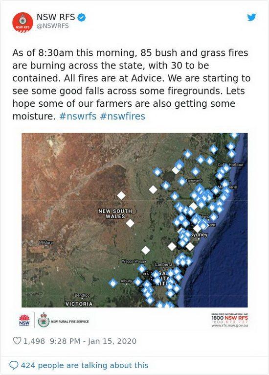 Местное метеорологическое бюро сообщает, что в штате Новый Южный Уэльс - в той части страны, где больше всего бушевали лесные пожары, прошли интенсивные осадки.