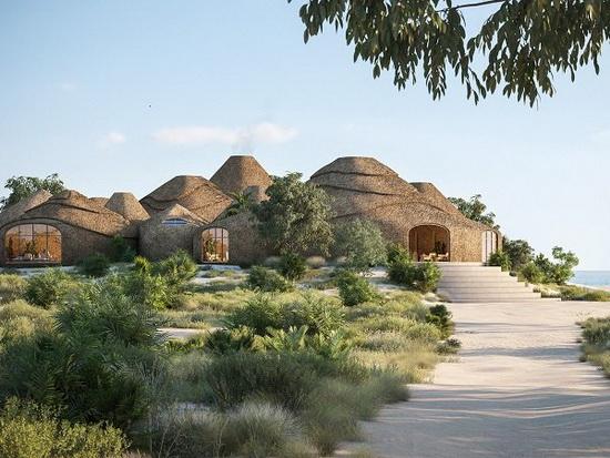 Строительные материалы для курорта изготавливаются из морской воды и песка острова, из которых делается строительный раствор.