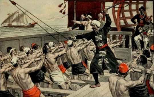 Каторгой изначально именовали судно с тройным рядом вёсел, появившееся в 7 веке в Венеции.