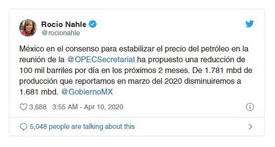 Между тем в Мехико заявили о готовности к снижению добычи нефти на 100 тысяч баррелей в день в течение следующих двух месяцев. Об этом написала через несколько часов после окончания переговоров в Twitter министр энергетики страны.