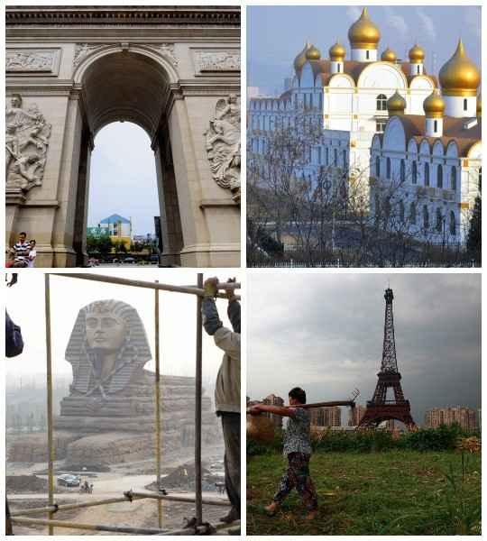 В Китае делается всё, даже масштабные реплики культовых сооружений со всей земли, в том числе Эйфелевой башни, Белого дома, Колизея, пирамиды Лувра и Большого сфинкса Гизы.