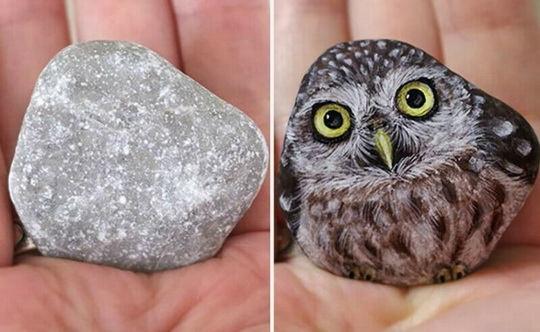 Творческая девушка из Японии по имени Аки Наката (Akie Nakata), дает камням вторую жизнь, рисуя на них очаровательных животных.
