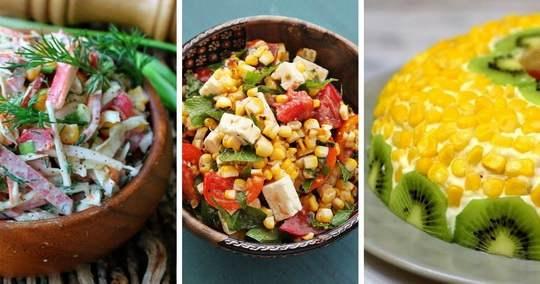 Сладкая консервированная кукуруза — очень популярный ингредиент для салатов.