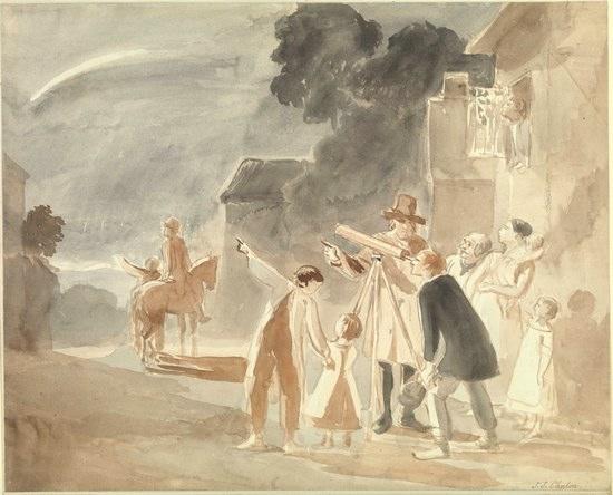Одно из описаний прохождения кометы Галлея в 1835 году содержит упоминание о «хвосте пара» в небе, увековеченного в некоторых произведениях искусства.