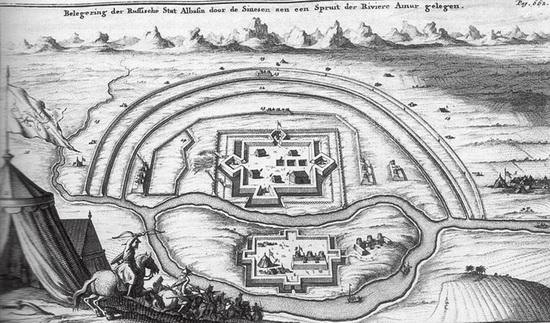 Гравюра с изображением осады Албазина