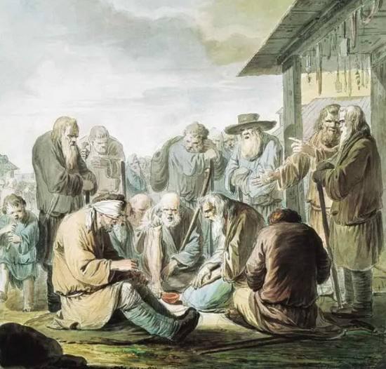 Калики перехожие были неотъемлемой частью провинциальных городов и деревень