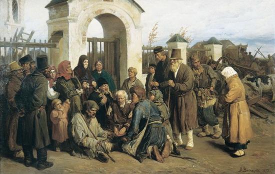 Нищие-певцы на картине В. Васнецова как раз изображают братию, собирающуюся перед службами на паперти