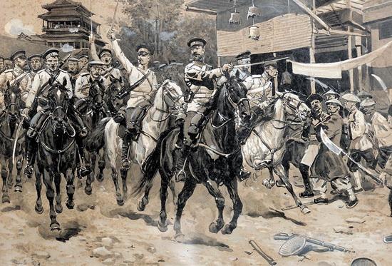 Русская кавалерия атакует отряд ихэтуаней