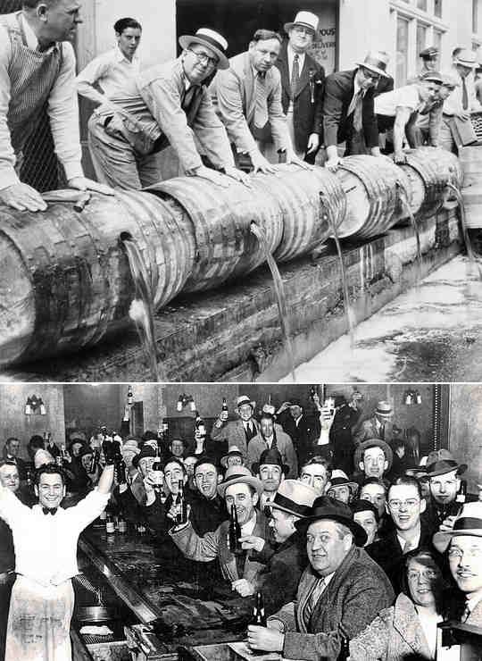 Запрет на алкогольные напитки в США вступил в свою силу в 1920 году.