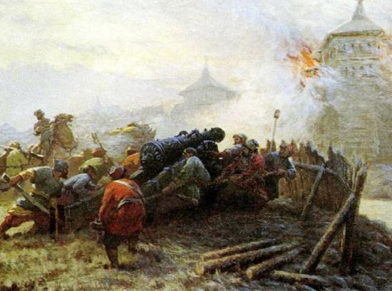 Русские артиллеристы во время осады Казани