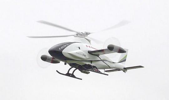 Одна из интересных новинок компании – беспилотный трехмоторный вертолет K-Racer.