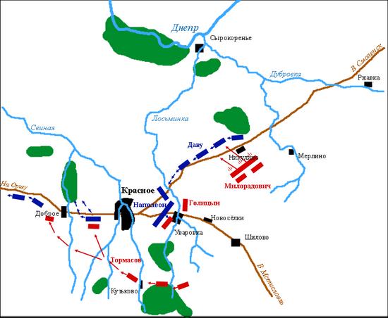 Бой под Красным, 4 ноября по старом стилю, второй день сражения. Синим показаны французы, красным – русские / ©Wikimedia Commons