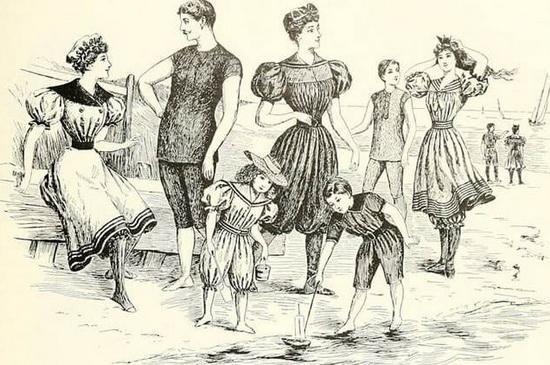 Купальные костюмы второй половины 19-го века. Источник: wikipedia.org